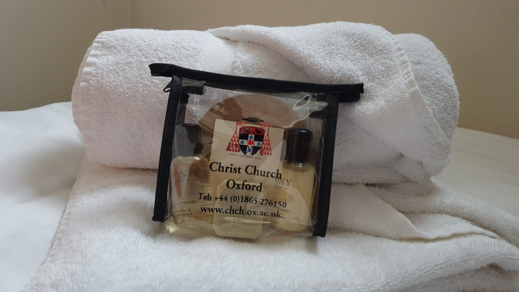 Stay at Christ Church College: Toiletries are also included!