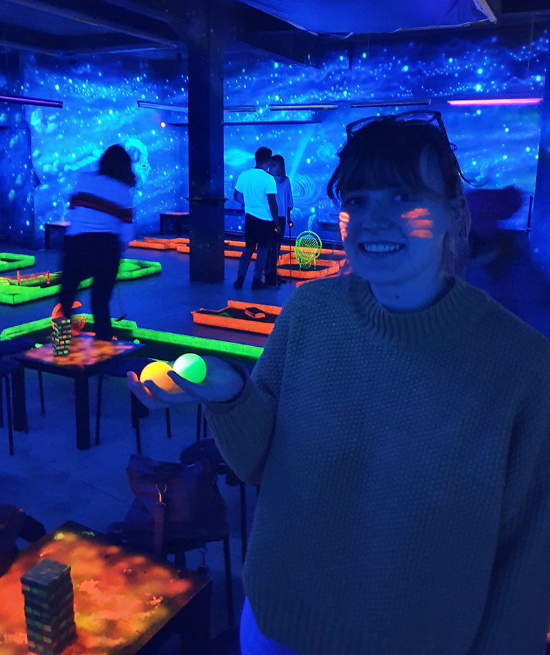 Quirky things to do in Krakow Poland including Cosmic Golf at Cosmic Minigolf Pub