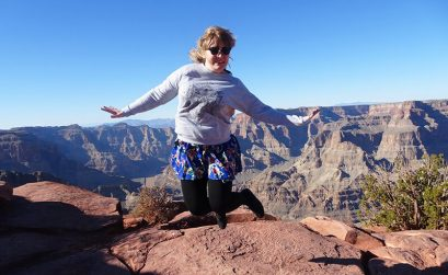 Emily jumping at the Grand Canyon