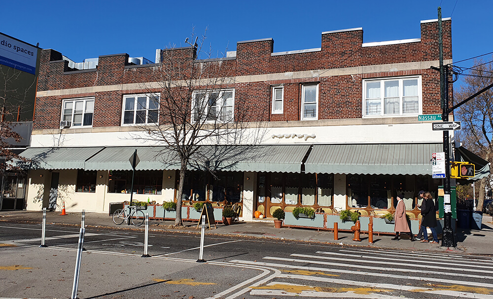 Exterior view of Sauvage restaurant in Williamsburg