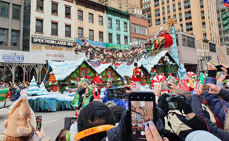Santa on one of the floats at Macy's Thanksgiving Day Parade