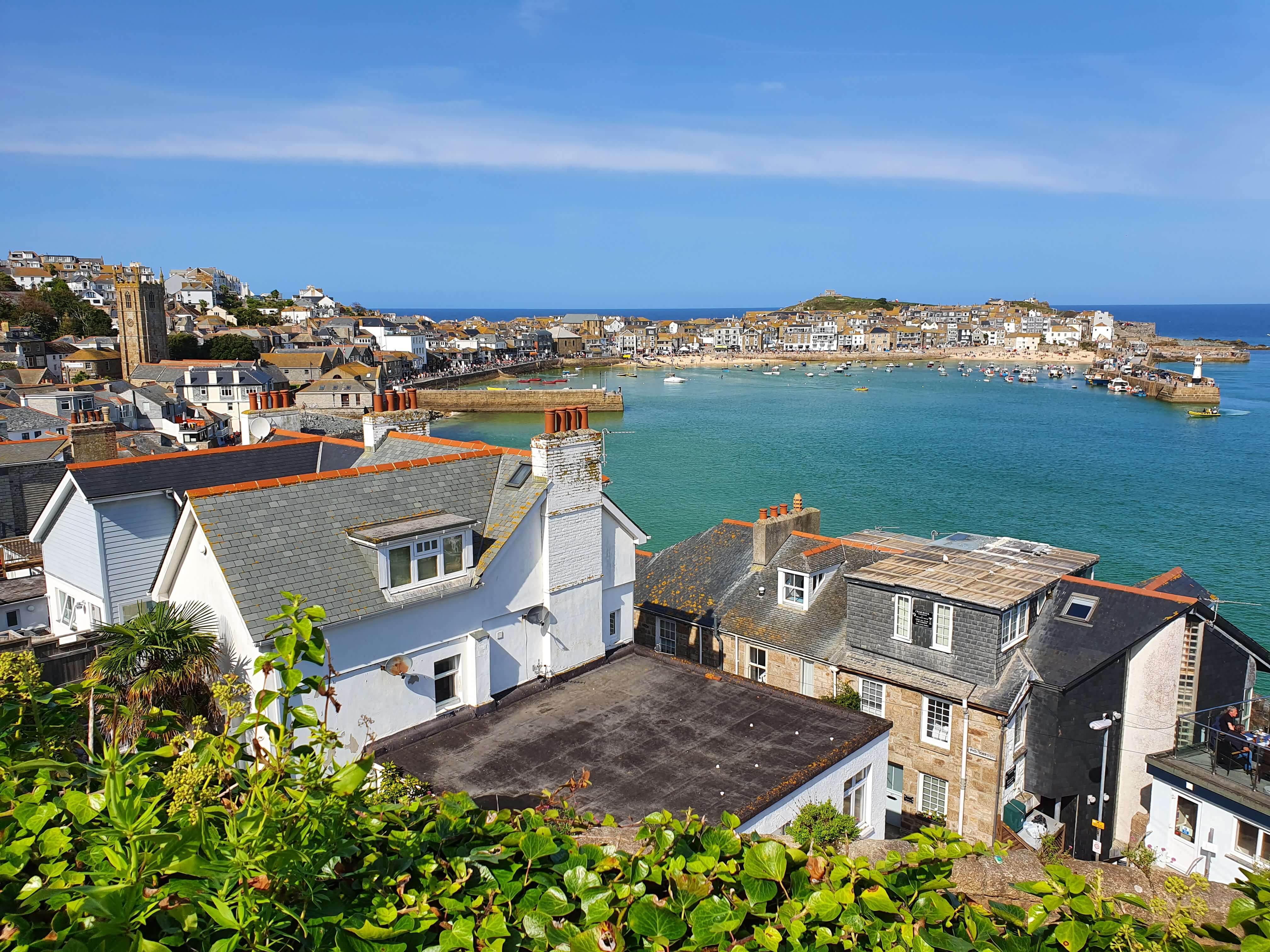 The St Ives harbour, pictured across the top of the rooftops