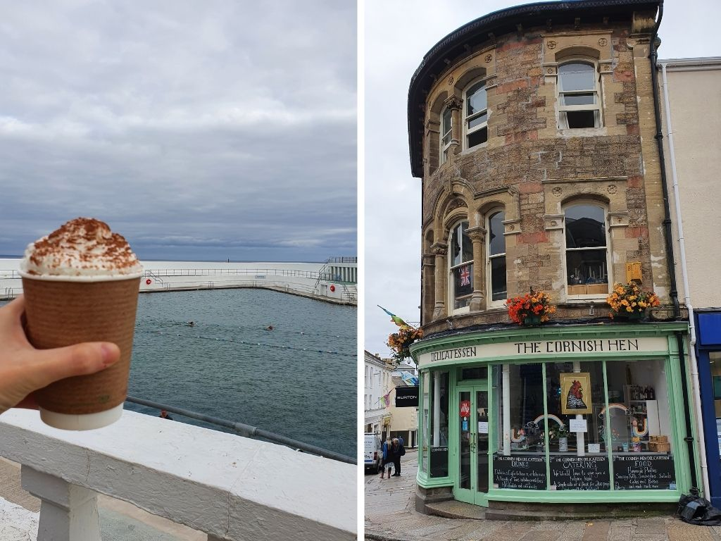 A hot chocolate in front of the Jubilee Pool in Penzance, and a shop front for a cafe